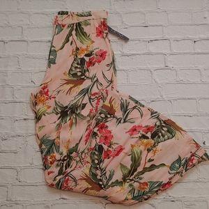 Life Style Boho Tropical Flare Pants Size XL